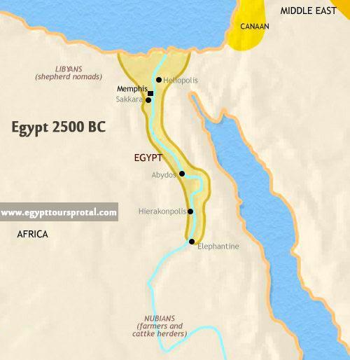 Ancient Egypt Map 2500 BCE - Egypt Tours Portal