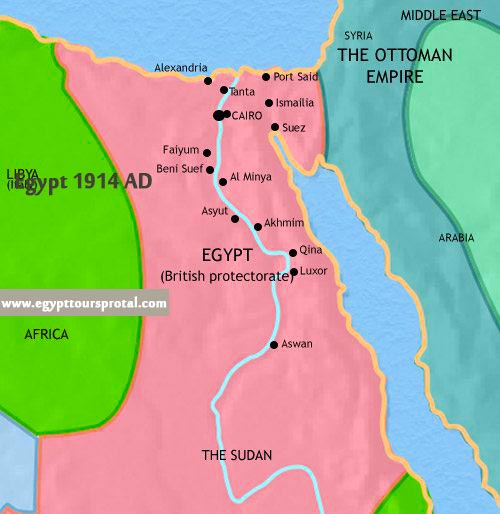 Egypt Map 1914 AD - Egypt Tours Portal