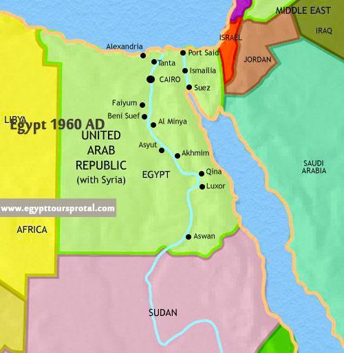 Egypt Map 1960 AD - Egypt Tours Portal